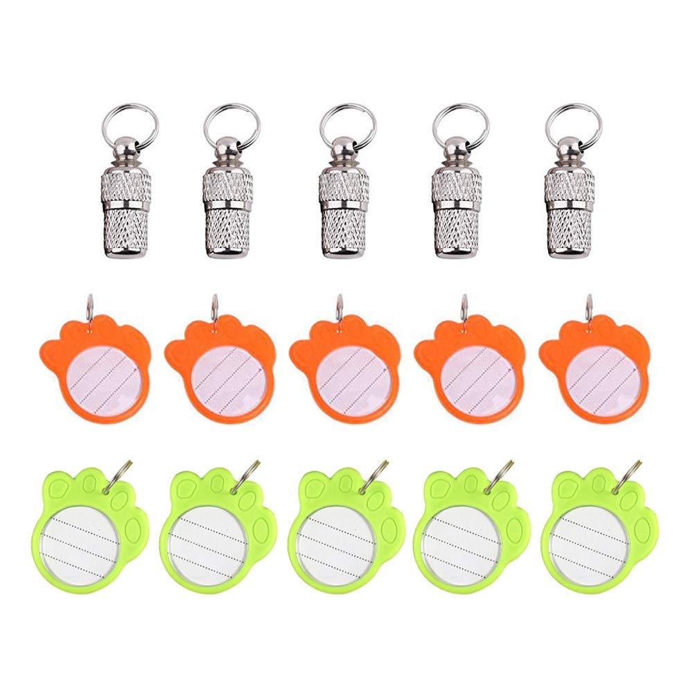 HPiano Pet ID Tube Tag Barrel 5 Pcs, Plastic Paw Shape Anti-Lost Pet ID Tag 10 Pcs, Stainless Steel Pet Dog Cat Puppy ID Address Name Label Personalized Tag Barrel Tube Collar