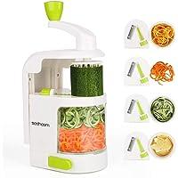 Sedhoom Coupe légumes Spirale ménager avec 4 Lames, Foldable Spiraliseur de légumes,légumes,Julienne Nouilles,courgettes…