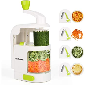 Sedhoom spiralizzatore/Affettatrice di verdure verticale con 4 lame per tagliare/affettare frutta e verdure a julienne, migliore Tagliaverdure/Affettaverdure a spirale per fare spaghetti di zucchini