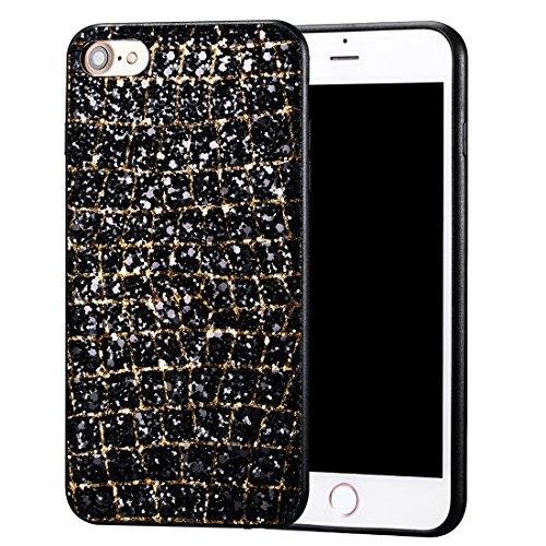 iPhone 8 Hülle, Luxus Bling Series CLTPY iPhone 7 Handytasche Dünne Hybrid Silikon & Hartzplastik Schale mit Glitzer Schwarzes Gold Muster für Apple iPhone 7/8 + 1 x Freier Stylus Schwarzes Gold