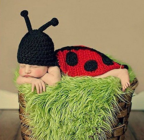 Kingken Cute Neugeborenes Crochet Strick Baby Fotografie Foto Outfit Marienkäfer ()