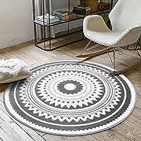 Bath Time Flagship Store LUYIASI- Teppiche Mode Runde Couchtisch Schlafzimmer Wohnzimmer Swivel Matten Non-Slip Mat (Farbe : A, Größe : 120cm)