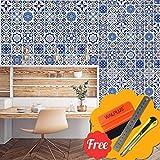 Walplus Entfernbarer selbstklebend Wandkunst Aufkleber Vinyl Wohndeko DIY Wohnzimmer Schlafzimmer Küche Dekor Tapete Marrakesch Blau Mix Wand Fliesen Aufkleber 48 stk. 15cm x 15cm