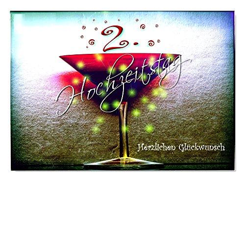 DigitalOase Jubiläumskarte 2. Hochzeitstag 2. Jahrestag 2. Jubiläum Glückwunschkarte Grußkarte Format DIN A4 A3 Klappkarte PanoramaUmschlag #KELCHR