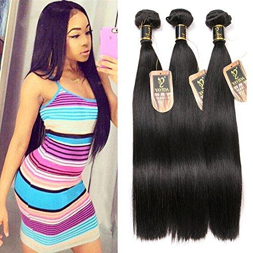 Yavida meche bresilienne lot cheveux bresilien lisse tissage en lot tissage cheveux humain bresilienne raide mèches bresiliennes naturelles total 300g 12 14 16 pouces