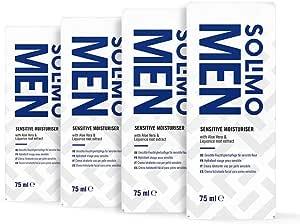 Marchio Amazon - Solimo Crema idratante Uomo per pelle sensibile con Aloe Vera, vitamina E ed estratto di radice di liquirizia, 4x75ml