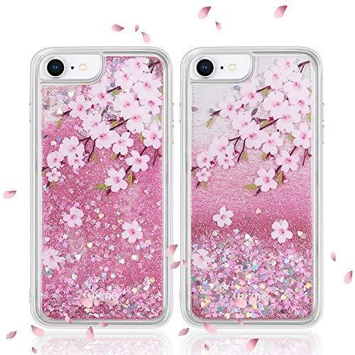 Luxmo iPhone 876S 6Fall Wasserfall Fusion Liquid Sparkling Quicksand Schutzhülle für iPhone 7(Pink), 4.7 Inches, Sakura