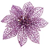 NF&E Artificial Glitter Wreath Christmas Ornament Fern Tree Flower Party Decor Purple