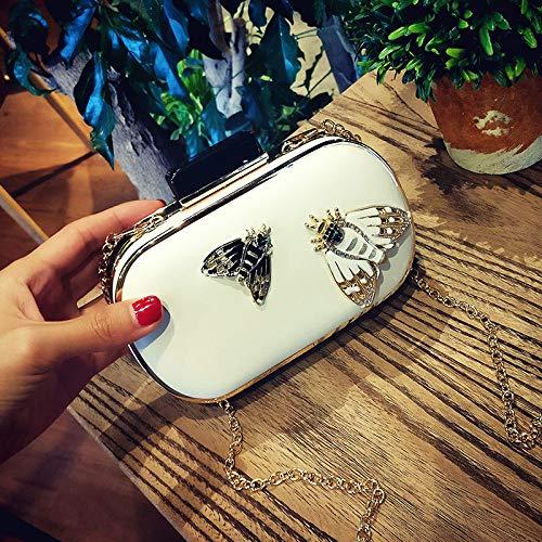 Ldyia Tasche Box Tasche Damen Tasche schwarz und weiß mischfarben Mini Messenger Bag umhängetasche Mode insekt Temperament Kette Tasche, weiße Farbe -