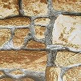 D´Deco selbstklebende Folie Tapete Klebefolie für Möbel Küche Tür & Deko Fototapete Möbelfolie Dekofolie I Steinmaueroptik Sandstein - Wall 200 x 67,5cm