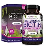 Biotin with Coconut Oil (Full Year Supply) Hair Growth Supplement with Biotin 10,000