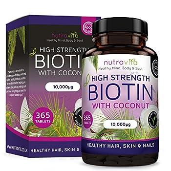 Biotina Vegana con Aceite de Coco para el Crecimiento del Cabello (suministro para todo el año) con Biotina 10.000 MCG de Nutravita
