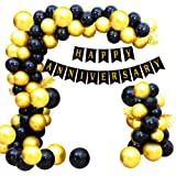Party Propz Black And Golden Happy Anniversary Decorations for Home Kit - 51Pcs Combo Set for Home Bedroom Decorations - Happ