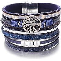 Bracelets de Bracelet en Cuir de l'arbre de Vie de l'UEUC, Brassard Multicouche Magnifique à la Main de Boho avec Boucle…