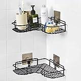 Fariox Self-Adhesive Metal Shower Caddy Bathroom Corner Shelf, No Drilling Adhesive Wall Mounted Shower Storage Organizer, Ba