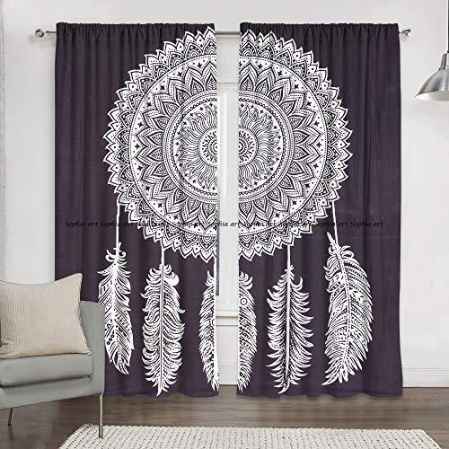 Sophia Art - Cortina Hippie para Colgar en la Pared, diseño de atrapasueños, Color Blanco y Negro