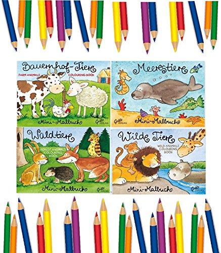 4 Tier-Malbücher, Minimalbücher 4er Set, A7, wunderschöne Tier Motive, Malbuch, Malblock,...