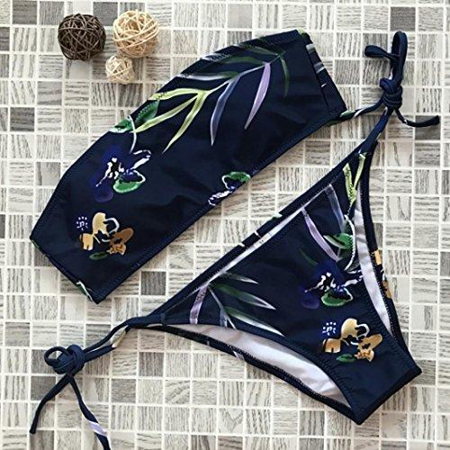 LuckyGirls ❤️• •❤️ Donne Bikini reggiseno imbottito bendare foglie di fiori stampa costume da bagno vita bassa senza spalline sexy Bikini Blu