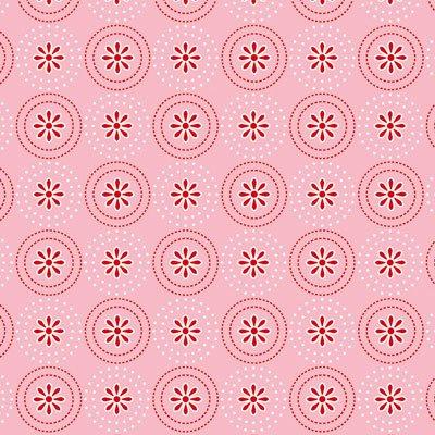 Coupon de tissu - Tante Emma - Toupies de fleurs roses