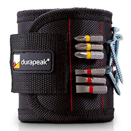 DURAPEAK Profi Magnetarmband - Ideales Geschenk für den Mann - Erledigen Sie Arbeiten Effizient und Schnell - Schrauben Halter und Werkzeuge