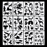 Paquete de plantillas de plantilla de 12 animales Bullet Journal, incluyendo 10 unidades de pluma bullet, perfecto para planificador/cuaderno/diario/álbum de recortes/Graffiti/tarjeta, 5 × 7 pulgadas