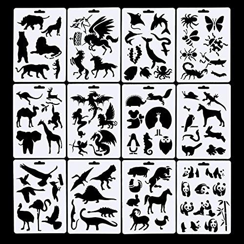12 Pack Tiere Bullet Journal Schablone Template Set, einschließlich 10 Pack Kugel Journal Stift, Ideal für Planer/Notebook/Tagebuch/Scrapbook/Graffiti/Karte, 5 × 7 Zoll