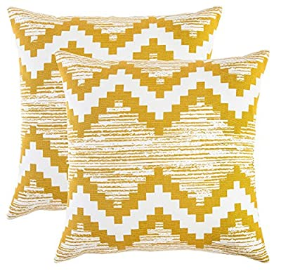 TreeWool, (Pack of 2) Cotton Canvas Ikat Chevron Accent Decorative Cushion Covers produced by TreeWool - quick delivery from UK.