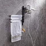 an der Wand Befestigte Handtuchhalter FüR Mehrere Badezimmerhalter aus Schwarzem mit Fön