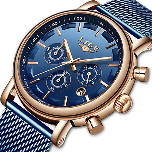 Herrenuhr Wasserdichter Edelstahl Analog Quarzuhren Militär Datumskalender Business Chronograph Luxusmarke LIGE Mode Lässig Blaue Durchbrochene Uhr - Uhren Verkauf Männer Zum