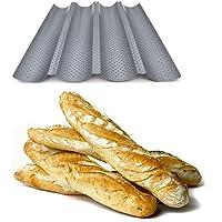 Plaque de cuisson moule pour 4 baguettes - Anti-adhésif - Plaque à pain perforée - Réversible pour biscuits et tuiles…