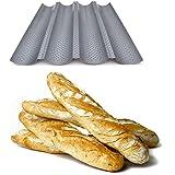 Plaque de cuisson moule pour 4 baguettes - Anti-adhésif - Plaque à pain perforée - Réversible pour biscuits et tuiles aux ama