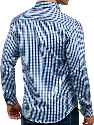 BOLF Herren Hemd Freizeithemd Herrenhemd Klassisch Kariert Slim Fit 2B2 Motiv Hellblau