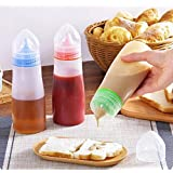 Zollyss Kitchen Plastic Squeeze Bottle Condiment Dispenser for Sauce Vinegar Oil Ketchup Cruet Bottles, (2 Pieces, Multicolou