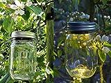 Gadgy ® Solarglas Einmachglas   Set 3 Stück mit 5 LED's   Warmweiß Licht   Solar Lampe für Außen   Garten Laterne - 4