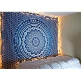 raajsee regalo de Navidad azul Ombre Mandala, elefante tapiz bohemio, diseño psicodélico colgar en la pared Glorafilia, Hippie Hippy Tapestry Tamaño 220* 240cm