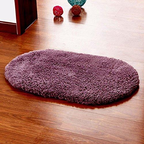 San Bodhi® antideslizante absorbente hogar baño Dormitorio puerta alfombra Oval alfombra, Gray-purple, 40*60cm