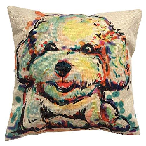 Moyun Niedlich Haustier Bichon Frise Hund Muster Geschenk Kissenbezug Baumwolle Leinen Zierkissenbezüge Hause Dekor 18 Zoll Platz