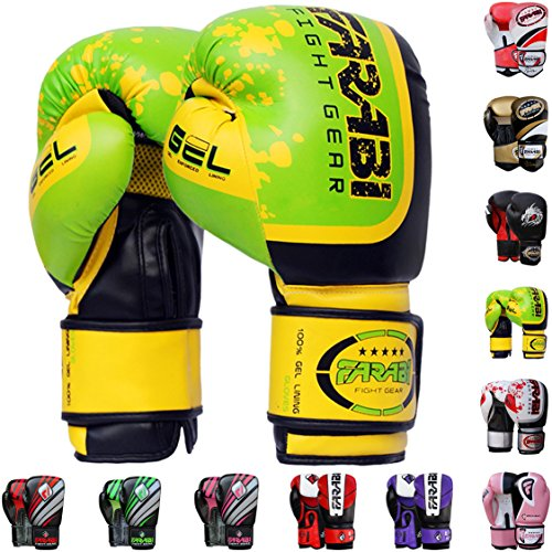 Farabi Pro Fighter Boxing Gloves Sparring Gym Bag Punching Focus Pad Mitts (Green, 10Oz) (Green, 10Oz) -