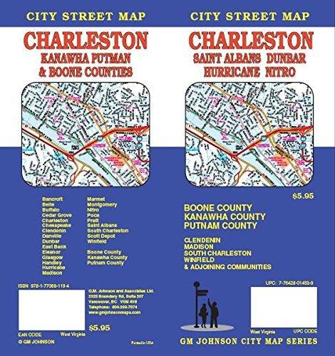 Charleston / Kanawha Co / Putnam Co / Boone Co, WV Street Map by GM Johnson (2013-04-25)