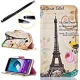 Lotuslnn Case Samsung Galaxy J5 2016 Coque Housse,Samsung Galaxy J5 2016/SM-J510 Etui Cuir Coque +Stylus Stift-tour Eiffel