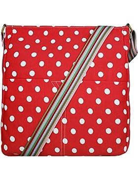 Miss Lulu Leinwand Messenger Schultertasche Cross Body Back to School Bag Spot Polka Dot