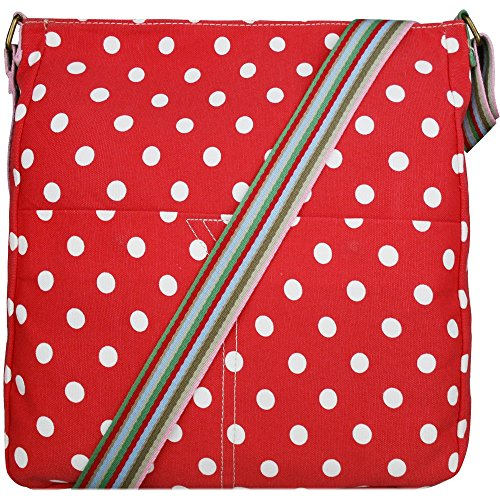 Donna, motivo floreale con farfalla, motivo a pois, in tela Polka Dot Red