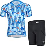 Taille 7-9 ans dauphin Free fisher Maillot de cyclisme Enfant unisex manches courtes cuissard Ensemble