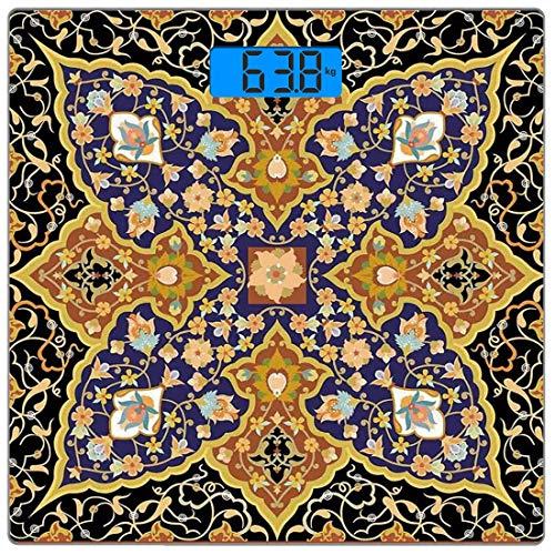 Präzisions-Digital-Körpergewichtswaage Arabian Ultra Slim Gehärtetes Glas-Personenwaage Genaue Gewichtsmessungen, arabisch-islamische Blumenmosaikmuster Südöstlicher antiker Orient Osmanisches Kunstwe -