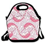 Icndpshorts Pink Narwhal Circles Lunch Tote Bag Bags Awesome Lunch Handbag Lunchbox Box for School Work Outdoor