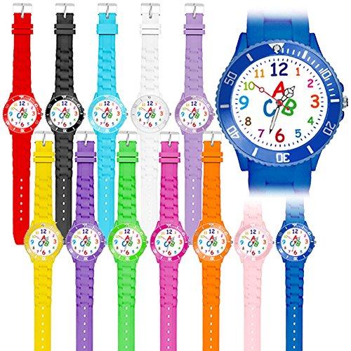 Taffstyle Kinder Armbanduhr Silikon Sportuhr Bunte Sport Uhr Kinderuhr Lernuhr Zahlen ABC Motiv Analog Pink - 5