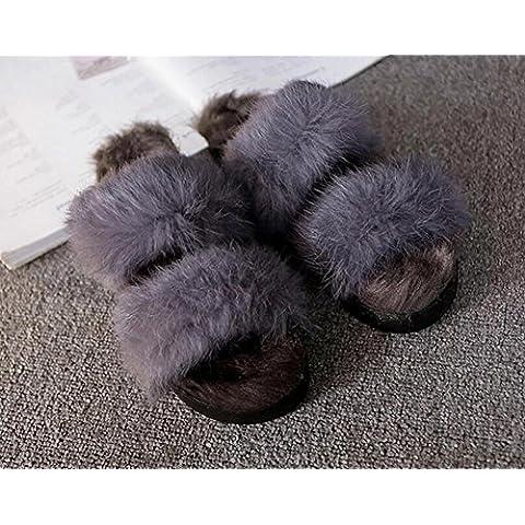 ZZHH Slippers Pantofole di cotone nella focaccina con una parola aggiunto pantofole di cotone-coniglio . gray . 39
