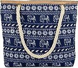 styleBREAKER Strandtasche mit Ethno Elefanten Muster und Reißverschluss, Schultertasche, Shopper, Damen 02012063, Farbe:Dunkelblau