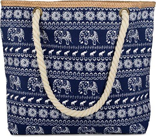 styleBREAKERStrandtasche aus Baumwolle mit Ethno Elefanten Muster und Reißverschluss, Schultertasche