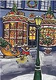 Weihnachtskarte gemalt der Schlitten vor dem Fenster